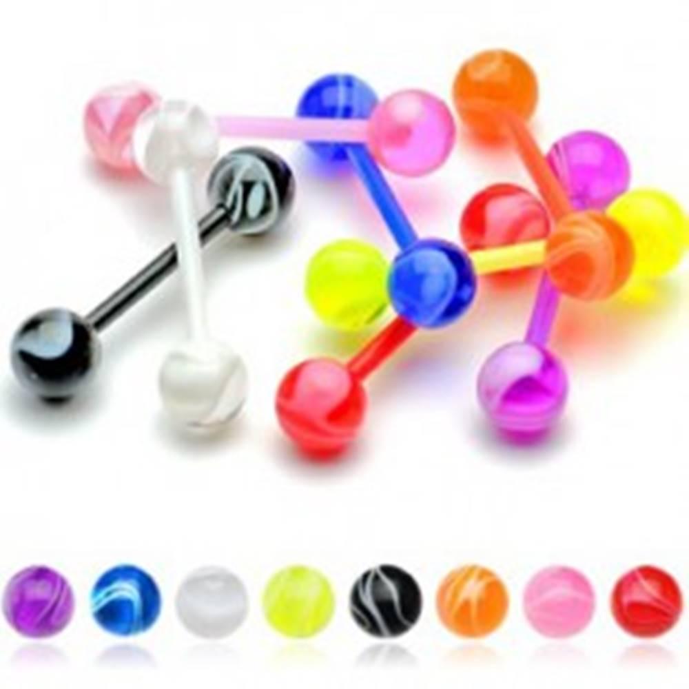 Šperky eshop Farebný akrylový piercing do jazyka flexibilný - biele zvlnené línie - Farba piercing: Čierna