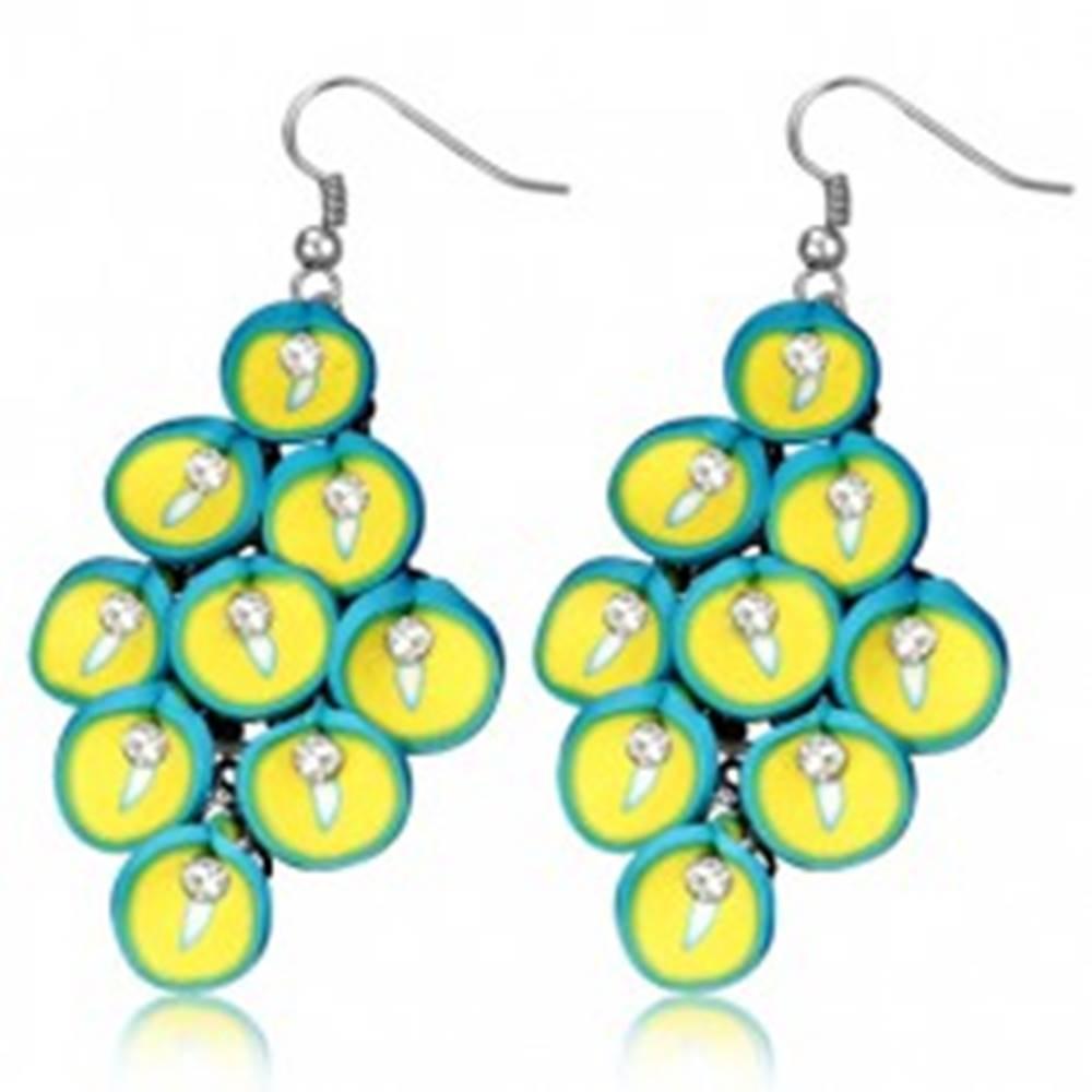 Šperky eshop FIMO náušnice - visiaci strapec tyrkysovo-žltých kvetov kaly
