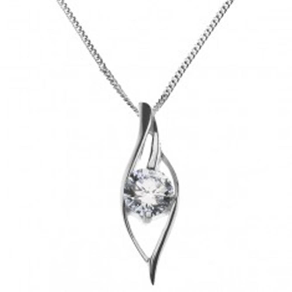 Šperky eshop Lesklý náhrdelník - zvlnená silueta oka so zirkónom, striebro 925
