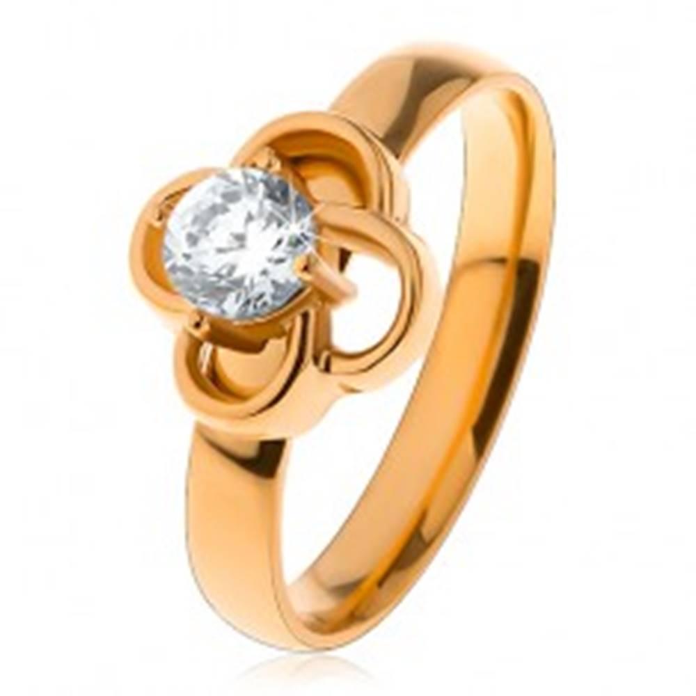 Šperky eshop Lesklý oceľový prsteň v zlatom odtieni, obrys kvietka s čírym zirkónom - Veľkosť: 49 mm