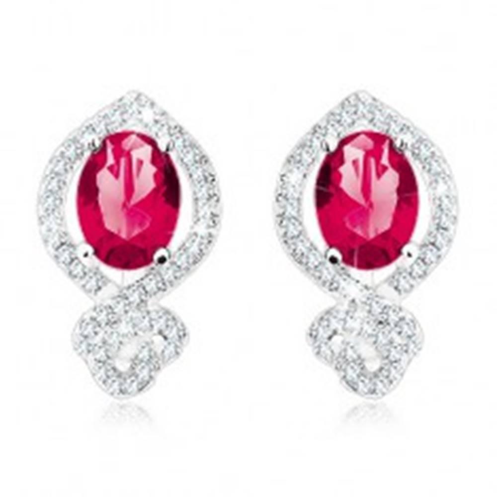 Šperky eshop Ligotavé náušnice, striebro 925, červenoružový ovál v čírej zirkónovej obrube