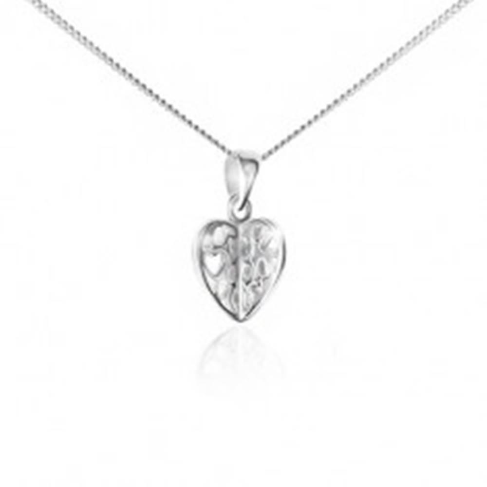Šperky eshop Náhrdelník zo striebra 925 - retiazka a prívesok, vyrezávané srdce