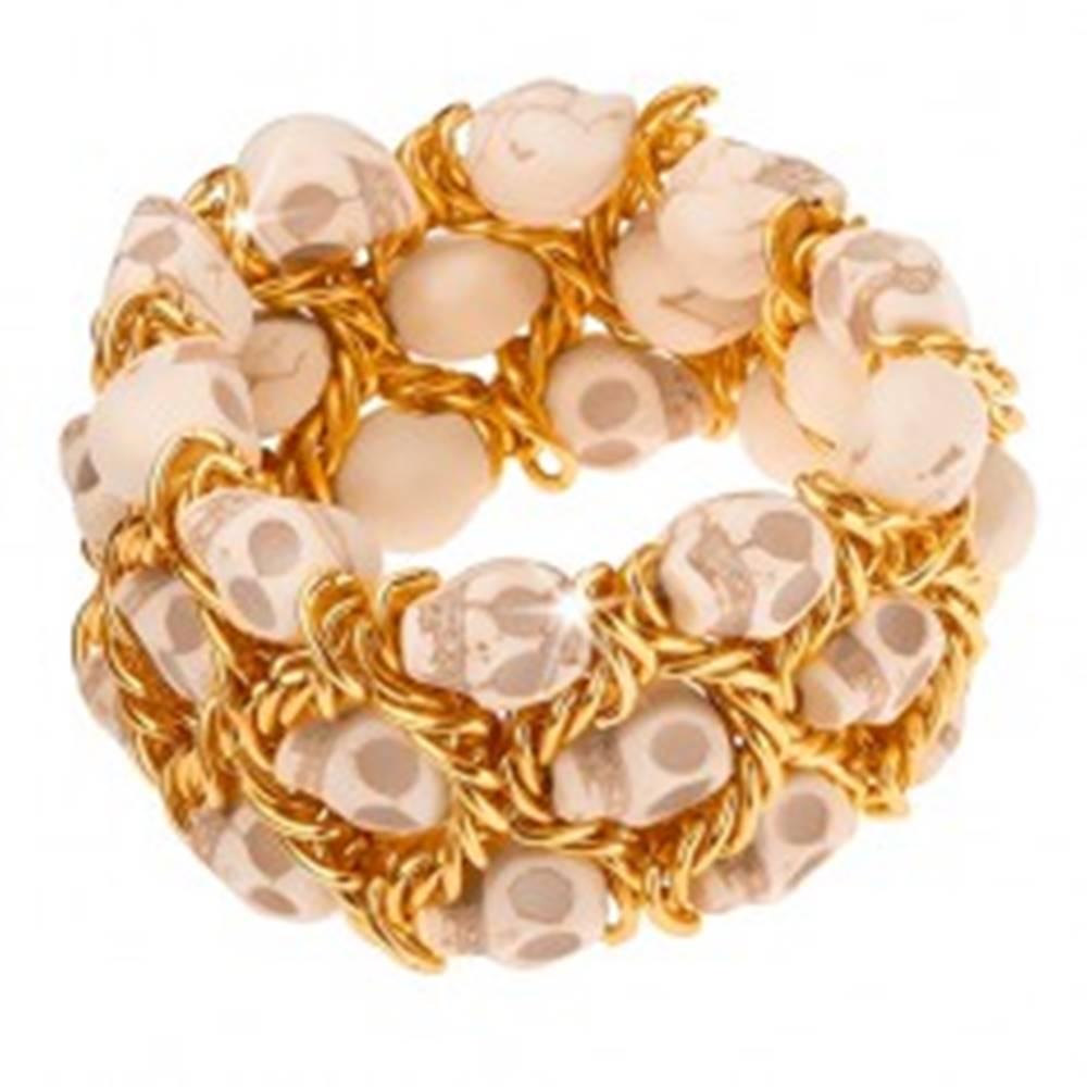 Šperky eshop Náramok, elastický, splietaná retiazka zlatej farby, lebky