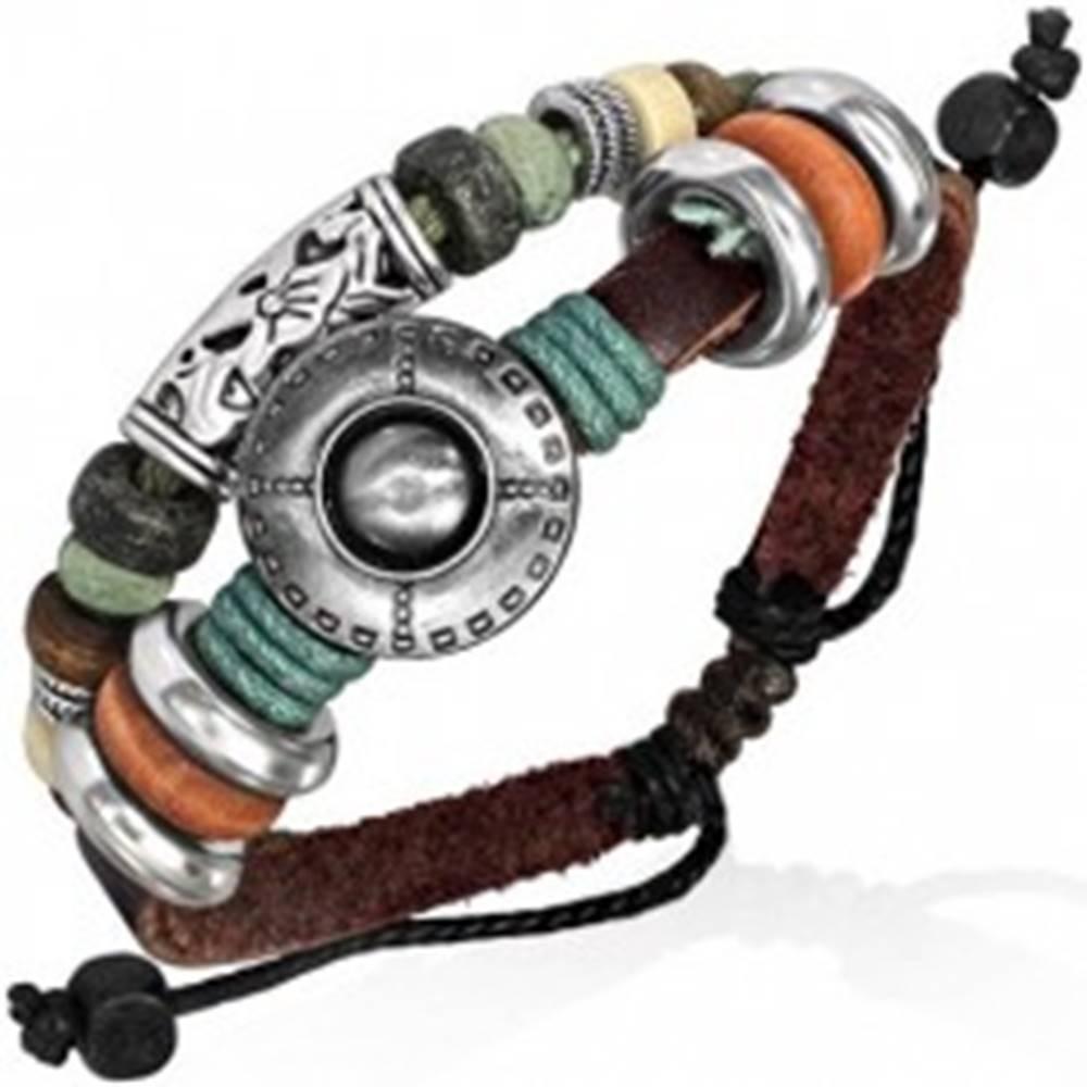 Šperky eshop Náramok z kože - farebné korálky, vyrezávaný kvet a disk