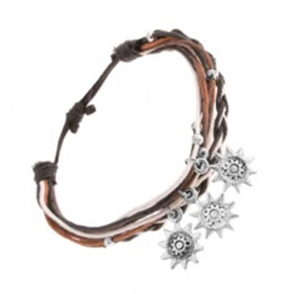 Šperky eshop Náramok zo šnúrok čiernej, bielej a hnedej farby, oceľové slniečka