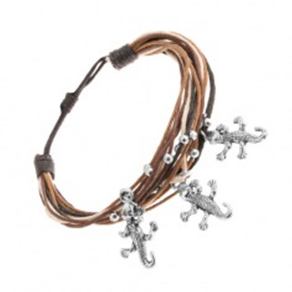 Šperky eshop Náramok zo šnúrok, hnedá, béžová, čierna farba, guličky, prívesok - jašterička