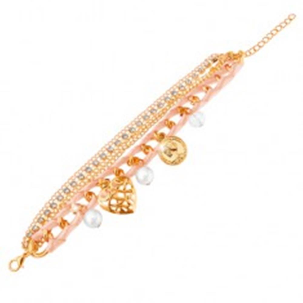 Šperky eshop Nastaviteľný náramok, svetloružová stužka, retiazky, prívesky, zirkóniky