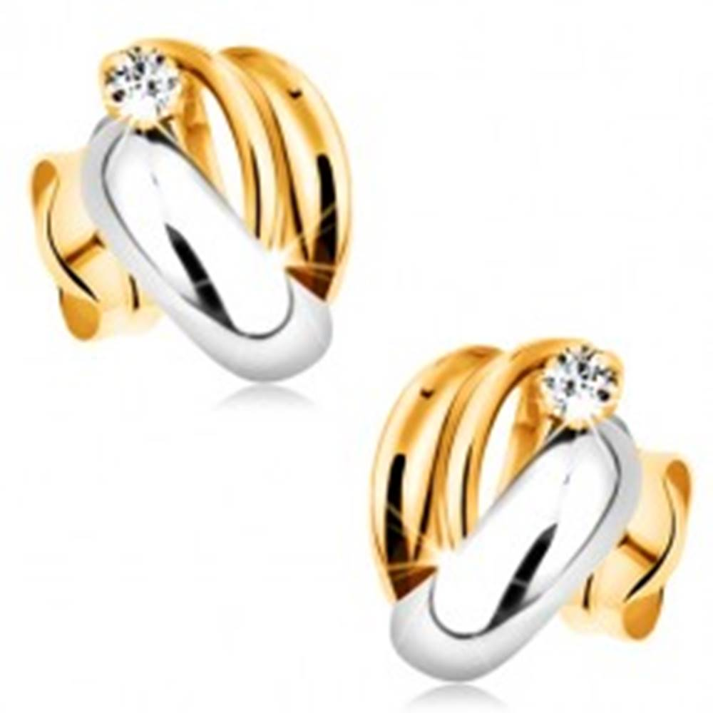 Šperky eshop Náušnice v 14K zlate - lesklé dvojfarebné oblúky, číry okrúhly zirkónik