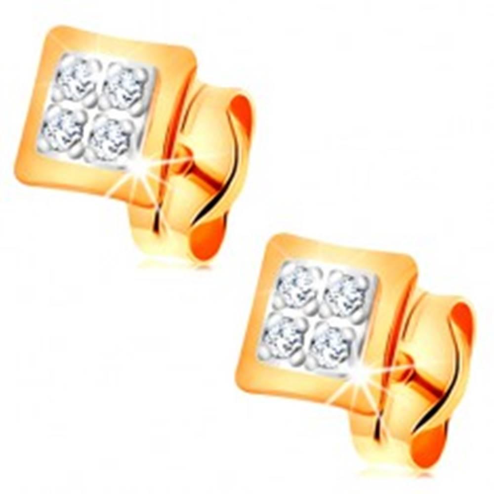 Šperky eshop Náušnice v kombinovanom 14K zlate - malé štvorce zdobené čírymi zirkónikmi