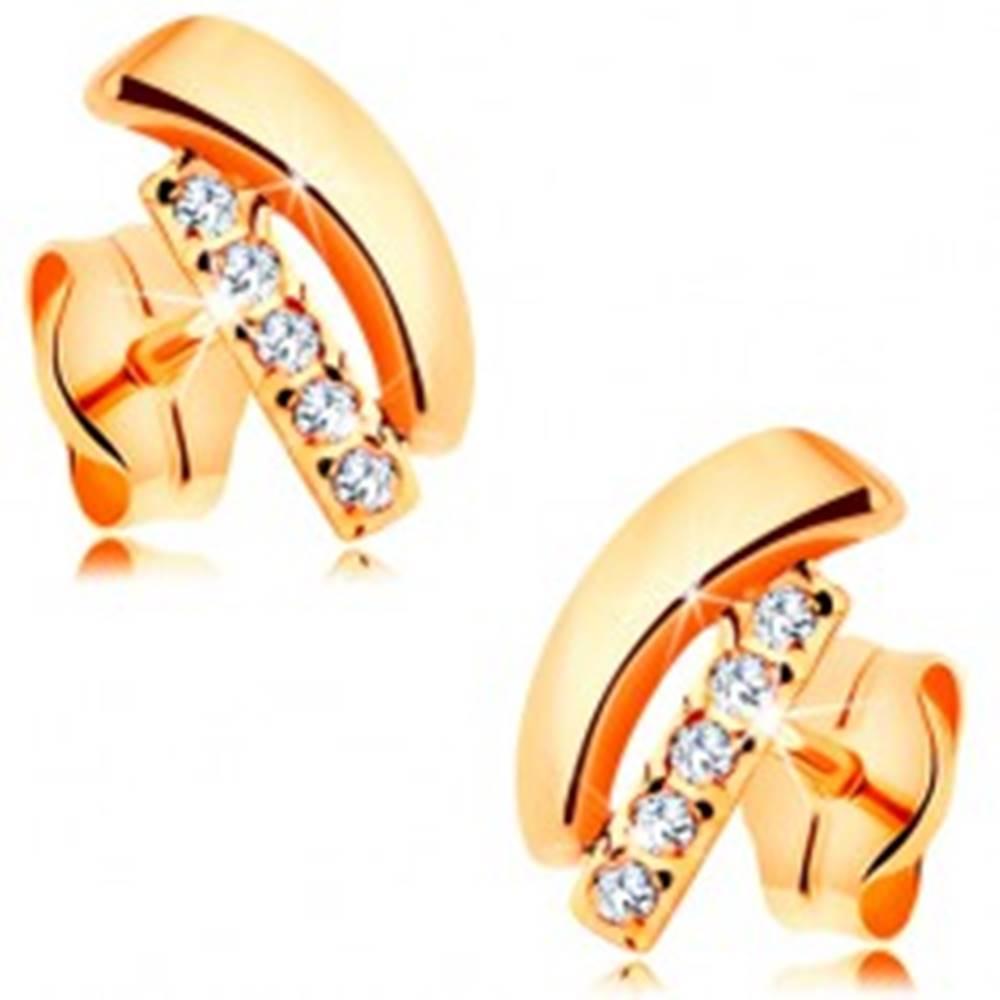 Šperky eshop Náušnice v žltom 14K zlate - lesklý oblúk a rovný zirkónový pásik čírej farby
