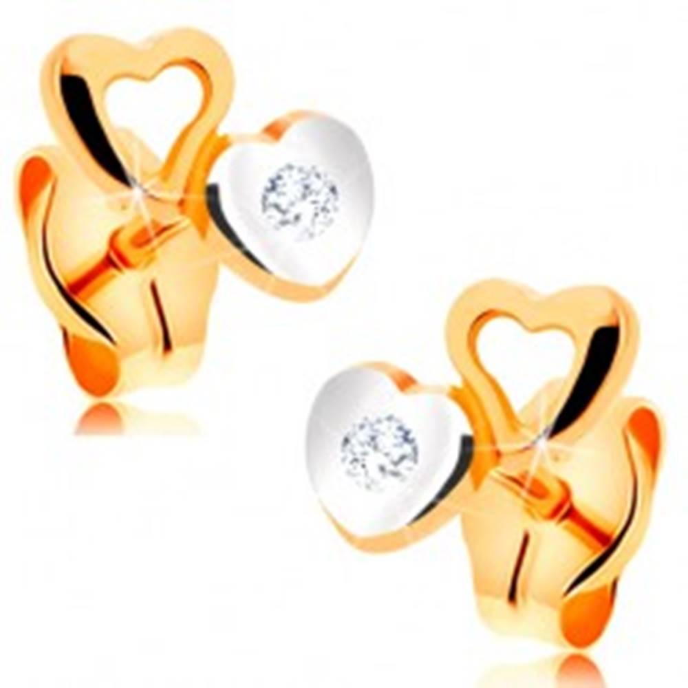 Šperky eshop Náušnice zo 14K zlata - drobné dvojfarebné srdiečka, zirkón čírej farby