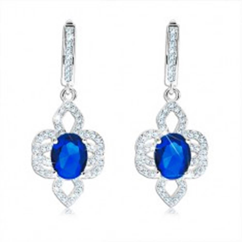 Šperky eshop Náušnice zo striebra 925, asymetrický kvet - modrý oválny zirkón, číre lupene