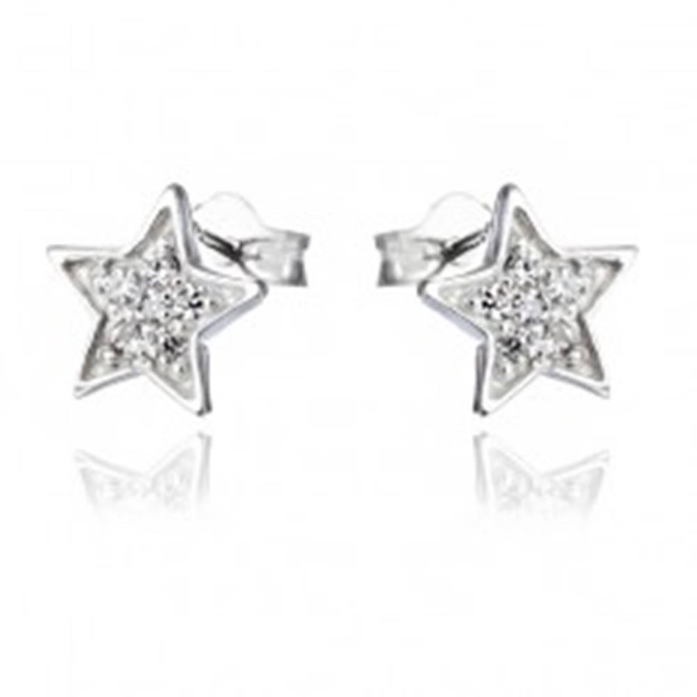 Šperky eshop Náušnice zo striebra 925 - gravírované hviezdy so zirkónmi
