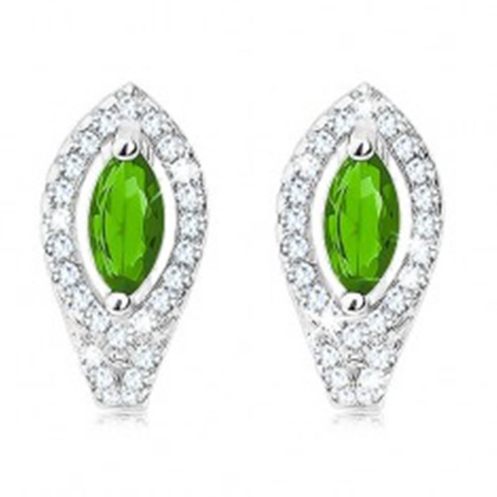 Šperky eshop Náušnice zo striebra 925, smaragdovo zelené zrnko, obrys z čírych zirkónov