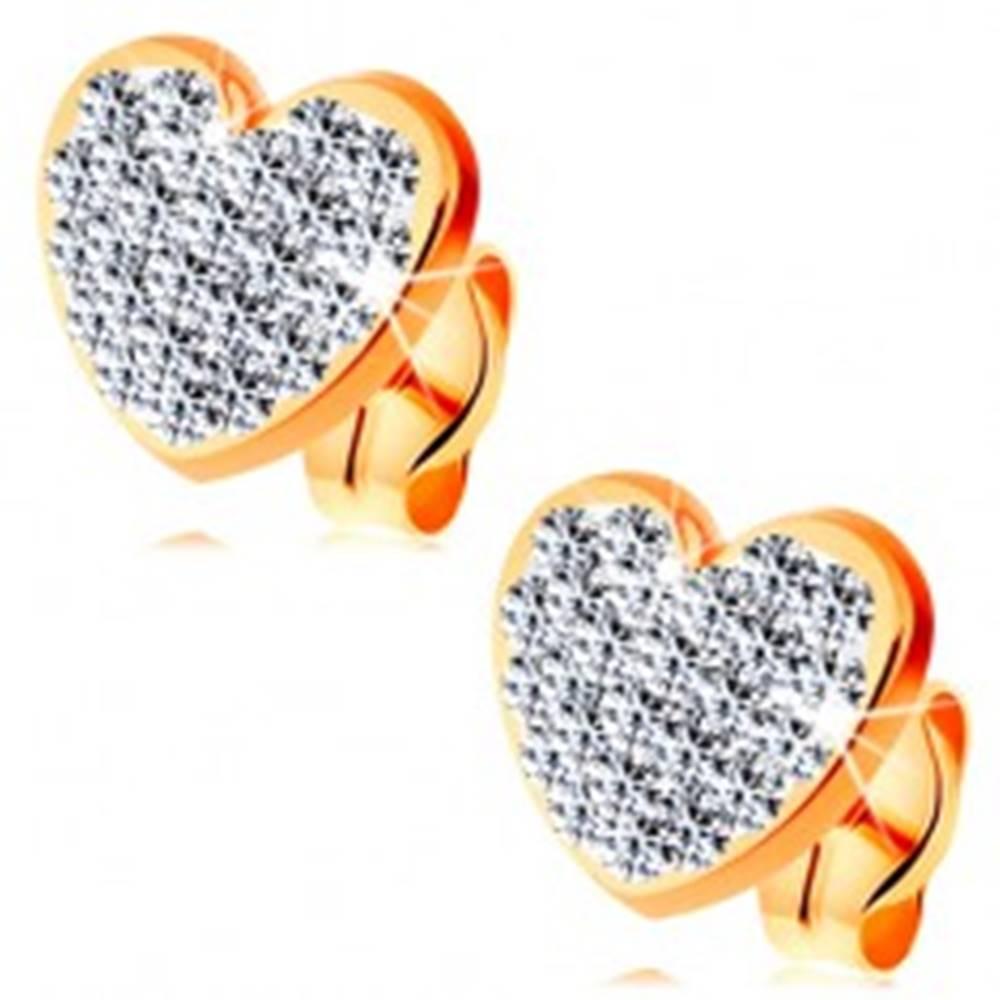 Šperky eshop Náušnice zo žltého 14K zlata - číre ligotavé srdce zdobené krištálikmi Swarovski