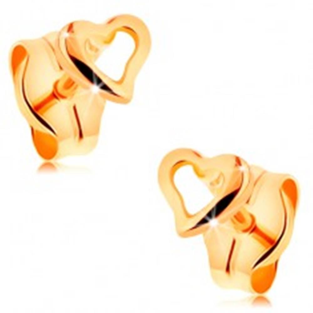 Šperky eshop Náušnice zo žltého 14K zlata - kontúra drobného nepravidelného srdca