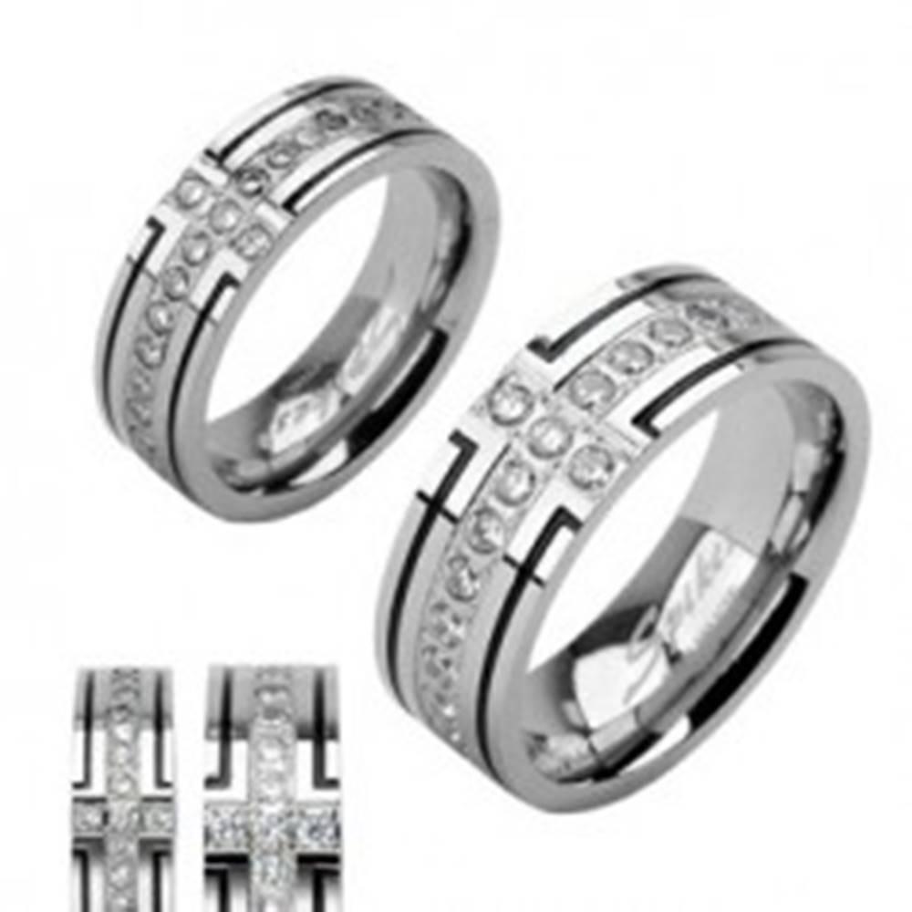 Šperky eshop Oceľová obrúčka s dvoma čiernymi pruhmi a jedným zirkónovým - Veľkosť: 52 mm