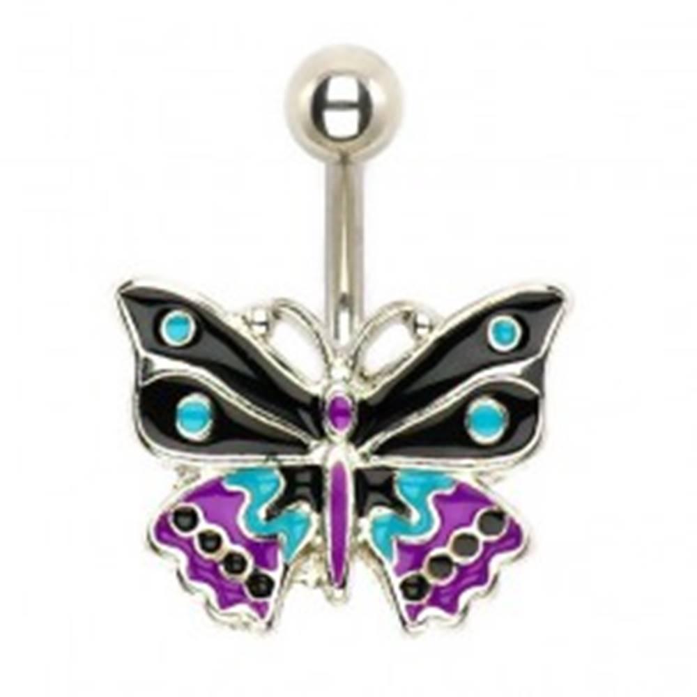 Šperky eshop Oceľový piercing do pupka, trojfarebný glazúrovaný motýľ