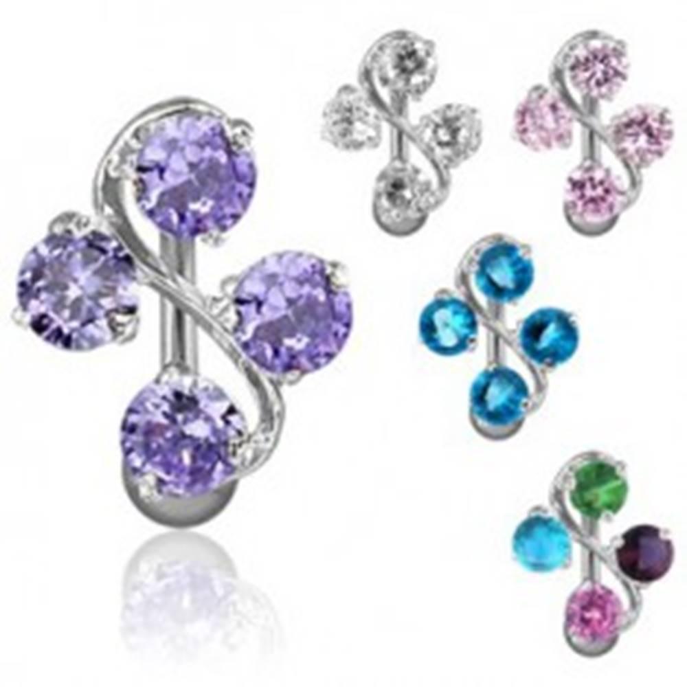 Šperky eshop Oceľový piercing do pupku - esíčko a štyri farebné zirkóny - Farba zirkónu: Aqua modrá - Q