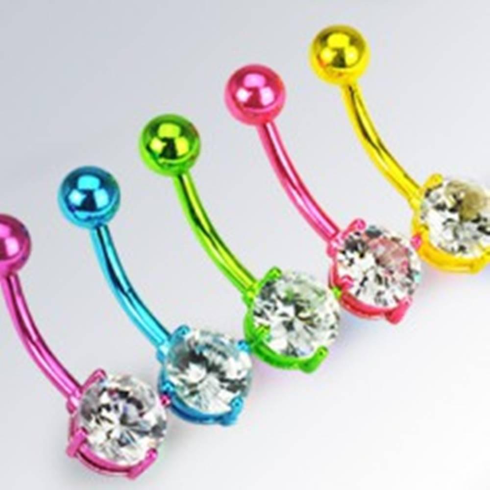 Šperky eshop Oceľový piercing do pupku - zirkón v dvojitej neónovej objímke - Farba piercing: Fialová