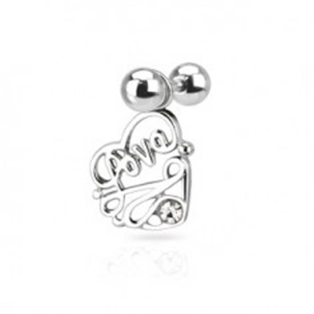 """Šperky eshop Oceľový piercing do ucha - nápis """"Love"""" v srdci s čírym zirkónom"""
