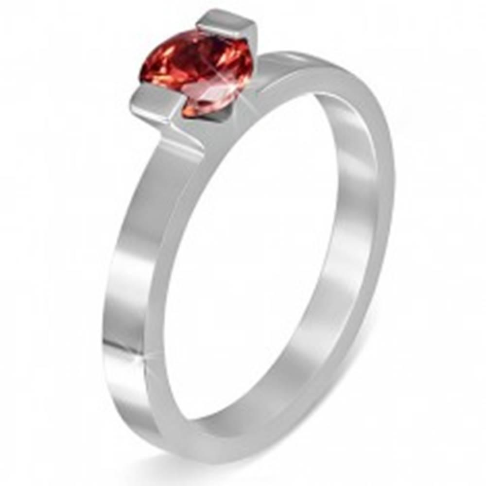 """Šperky eshop Oceľový prsteň - mesačný kameň """"Január"""", dva úchyty - Veľkosť: 52 mm"""