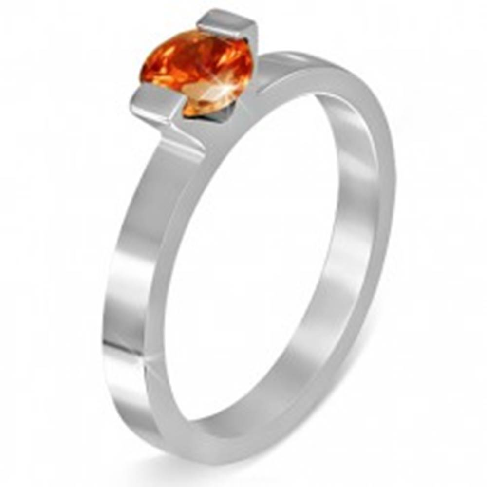 """Šperky eshop Oceľový prsteň - mesačný kameň """"Júl"""", dva úchyty - Veľkosť: 49 mm"""