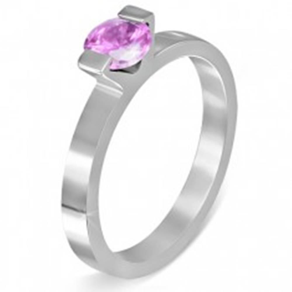 """Šperky eshop Oceľový prsteň - mesačný kameň """"Október"""", dva úchyty - Veľkosť: 52 mm"""