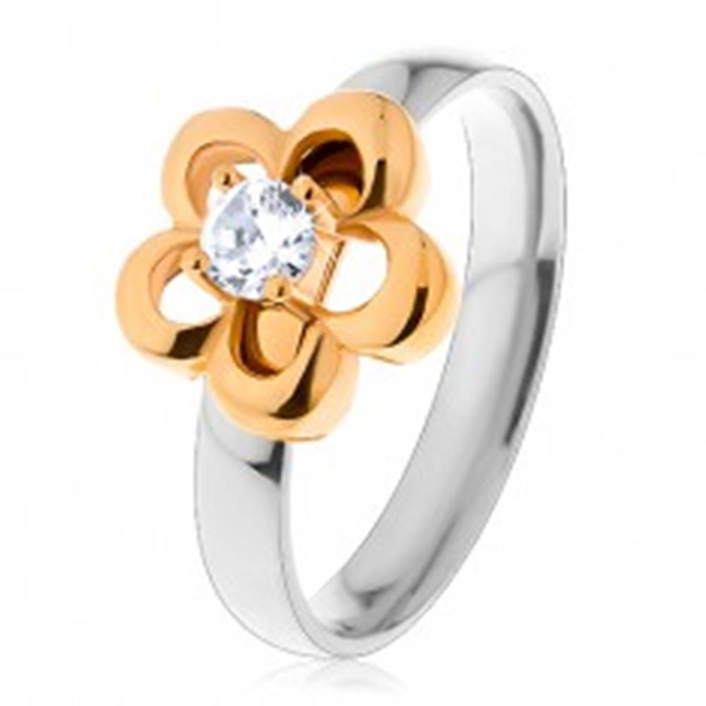 Šperky eshop Oceľový prsteň v dvojfarebnom prevedení, obrys kvetu s vyvýšeným čírym zirkónom - Veľkosť: 49 mm