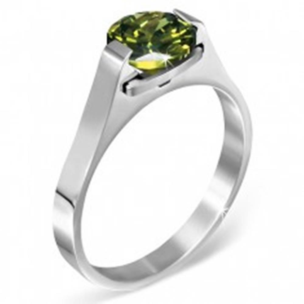 """Šperky eshop Oceľový prsteň - zelený mesačný kameň """"Máj"""", postranné úchyty - Veľkosť: 50 mm"""
