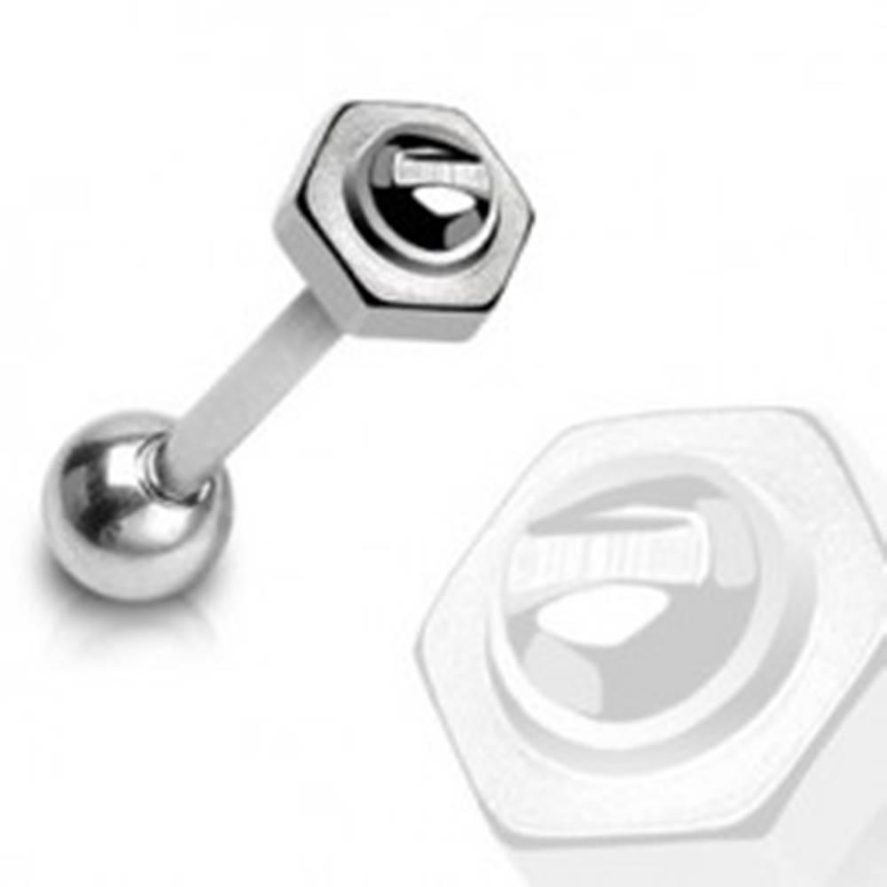 Šperky eshop Piercing do jazyka - barbel, skrutka s maticou, oceľ 316L