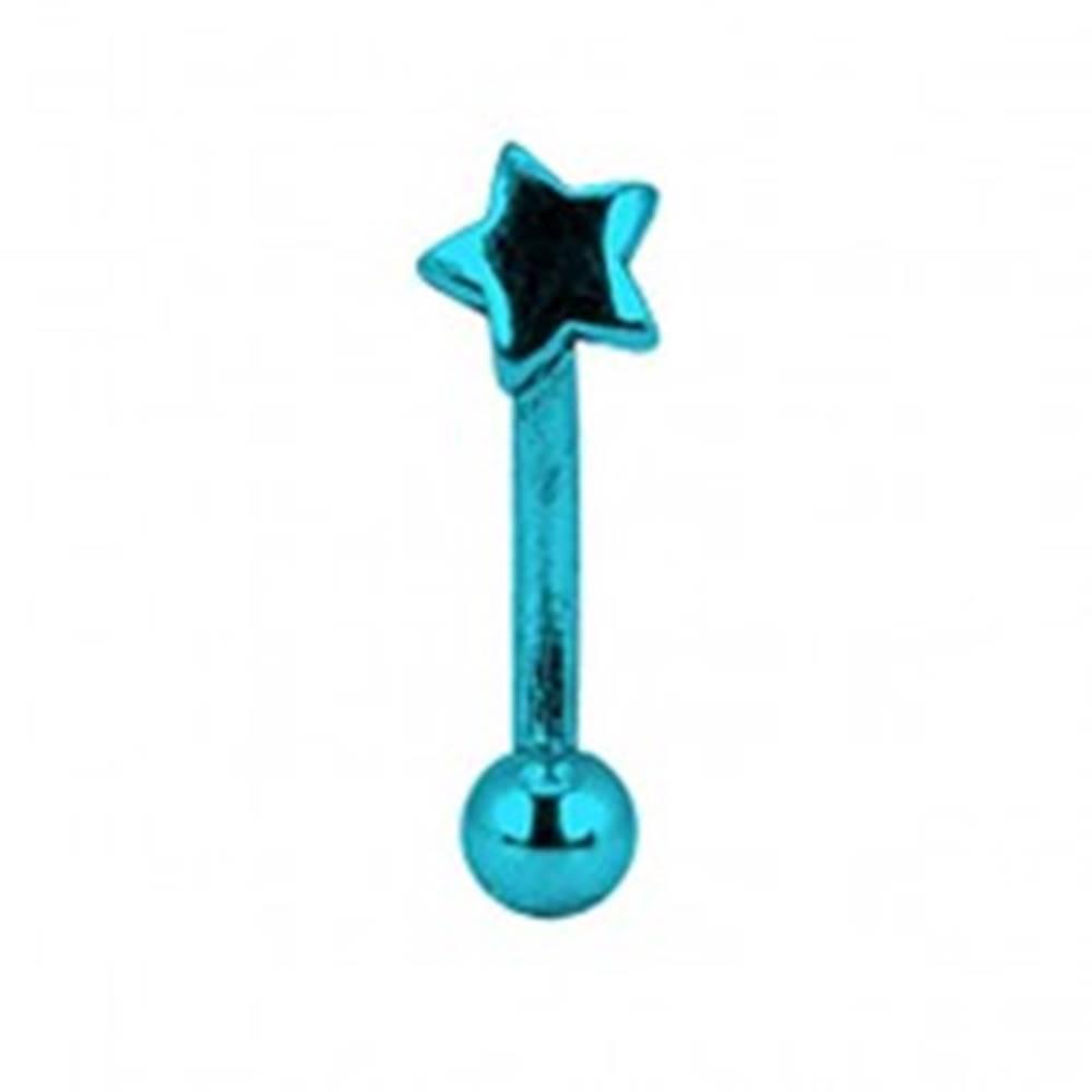 Šperky eshop Piercing do obočia titánový anodizovaný - modrá hviezda