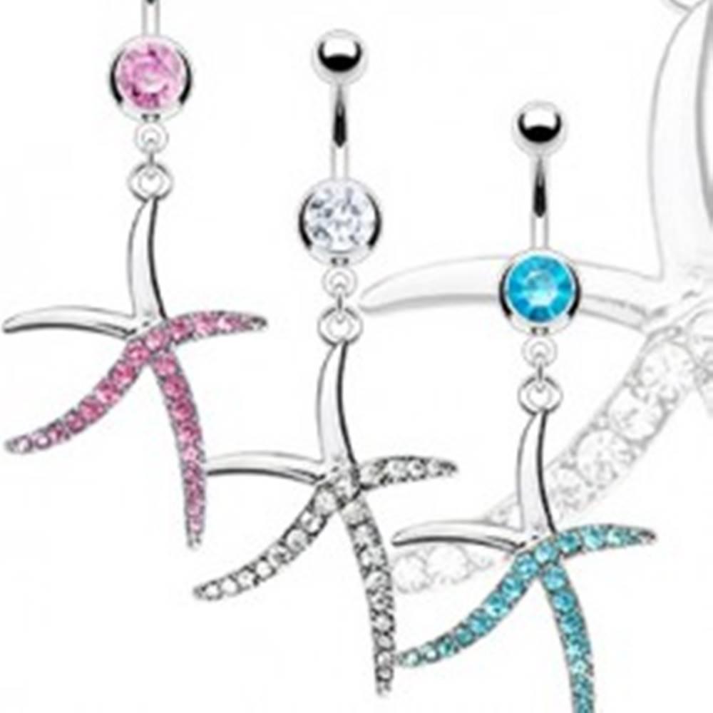 Šperky eshop Piercing do pupka z ocele - zirkónová hlavička a štíhla hviezdica - Farba zirkónu: Aqua modrá - Q