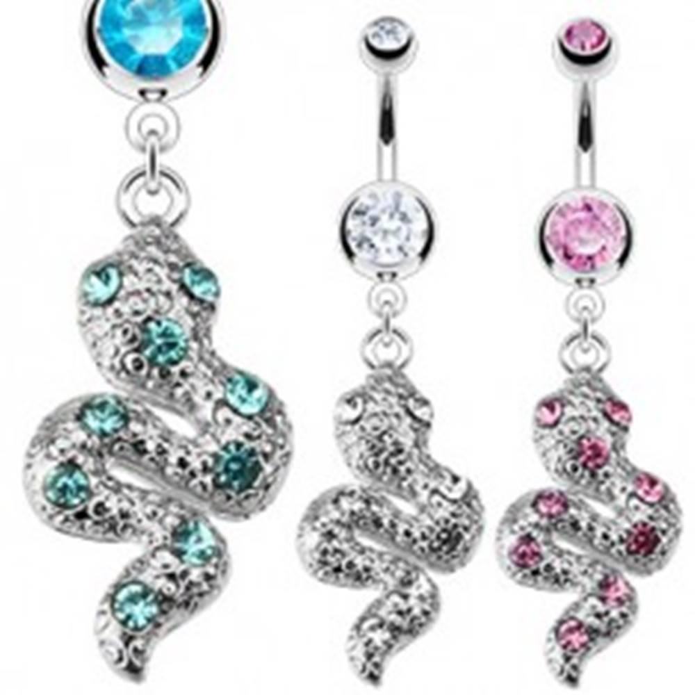Šperky eshop Piercing do pupku z ocele - trblietavý zvlnený had so zirkónmi - Farba zirkónu: Aqua modrá - Q