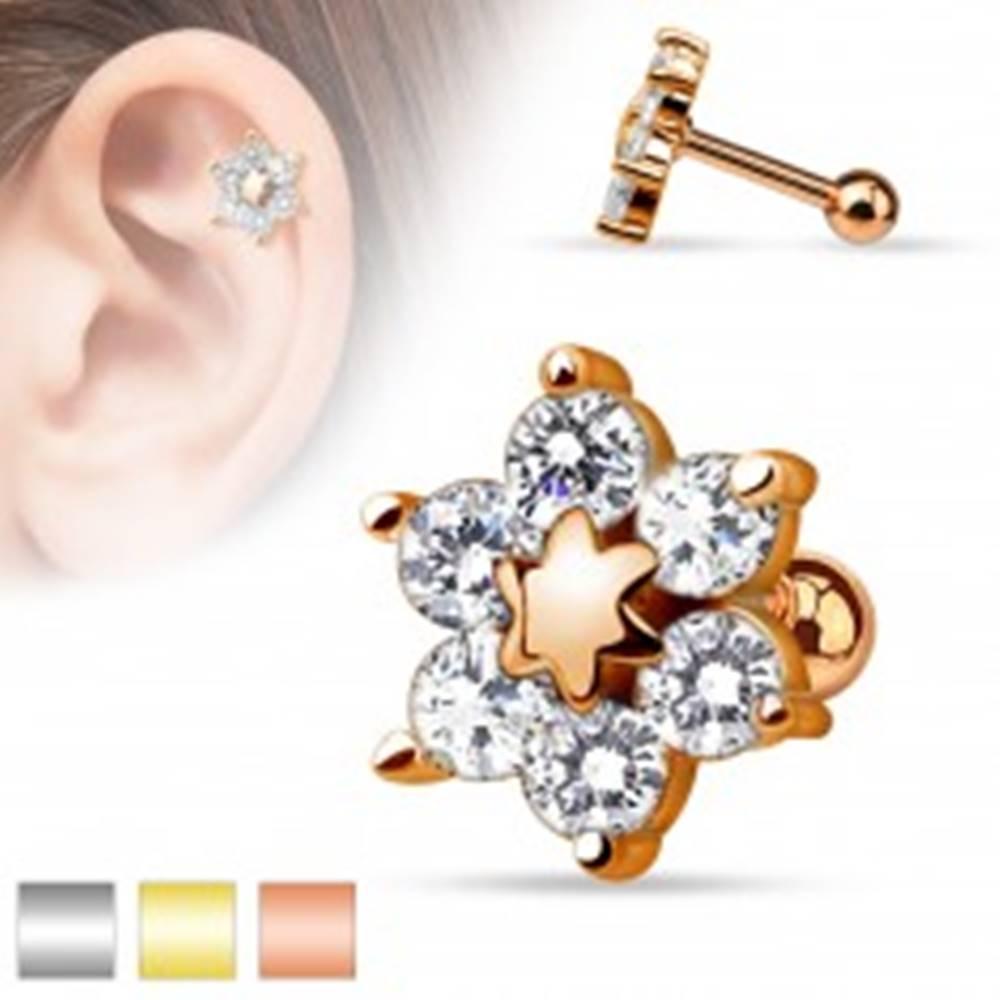 Šperky eshop Piercing do tragusu z ocele 316L, kvietok vykladaný čírymi zirkónikmi - Farba: Medená