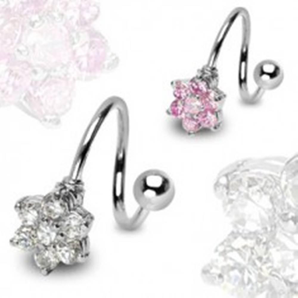 Šperky eshop Piercing z chirurgickej ocele - špirála so zirkónovým kvetom a guličkou - Farba zirkónu: Číra - C