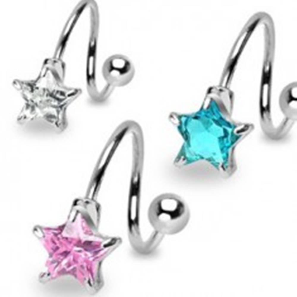 Šperky eshop Oceľový piercing do obočia - špirálka s päťcípou zirkónovou hviezdou - Farba zirkónu: Aqua modrá - Q
