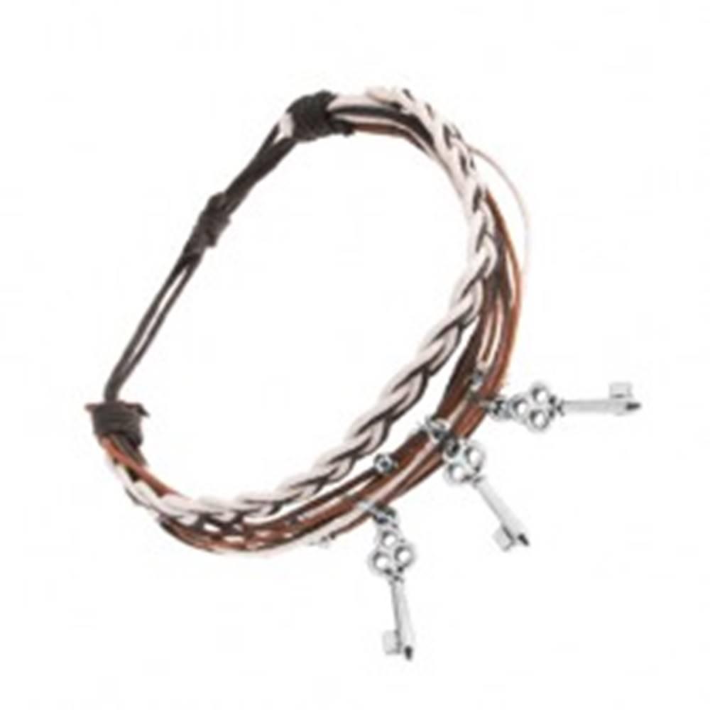 Šperky eshop Pletený náramok, motúziky v hnedej, čiernej a bielej farbe, tri oceľové kľúčiky