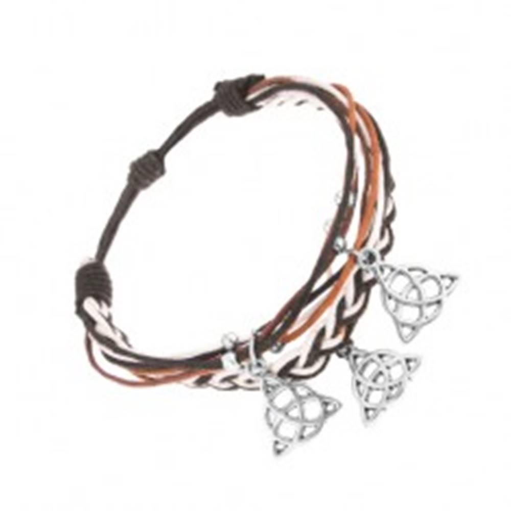 Šperky eshop Pletený náramok, motúziky v odtieňoch hnedej, čiernej a bielej farby, prívesky
