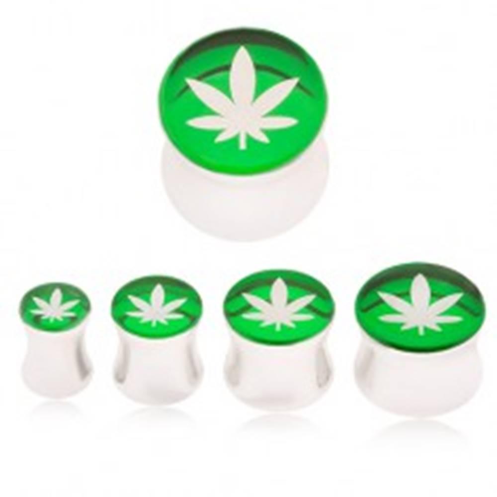 Šperky eshop Plug do ucha z ocele 316L, list marihuany na zelenom podklade - Hrúbka: 10 mm