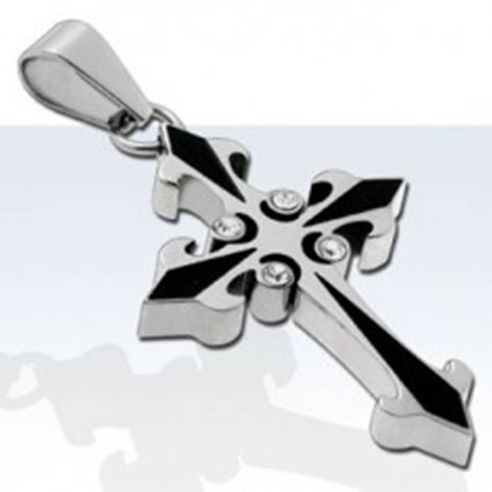 Šperky eshop Prívesok z chirurgickej ocele, dvojfarebný kríž so štyrmi zirkónmi