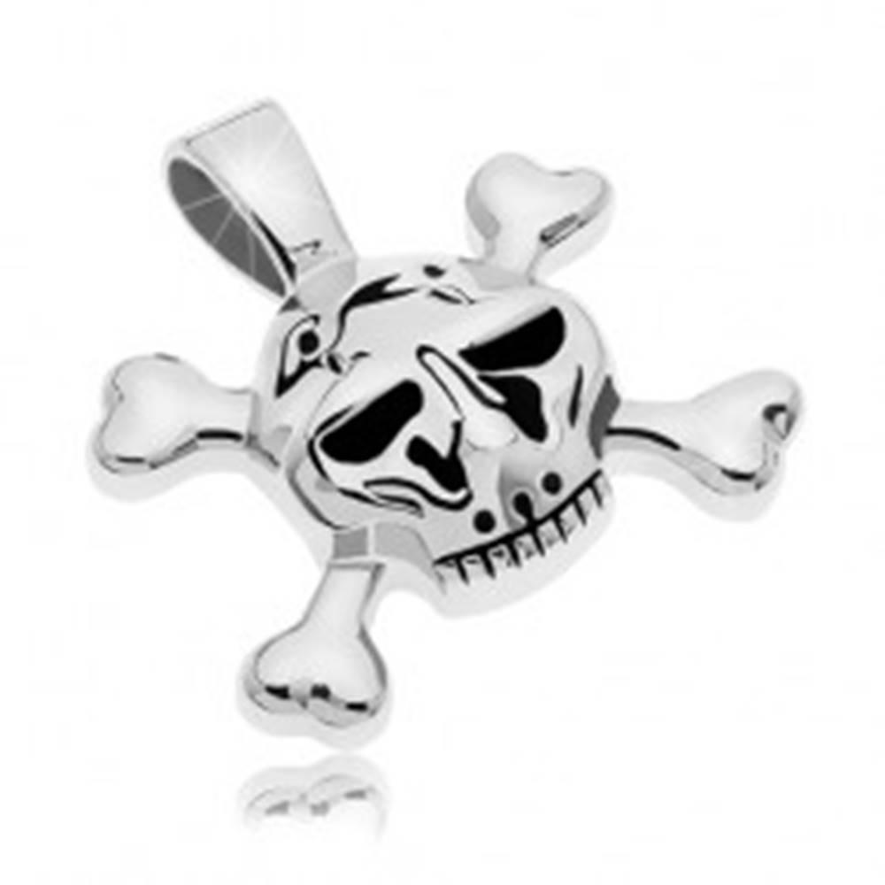 Šperky eshop Prívesok z chirurgickej ocele lebka s kosťami v tvare X