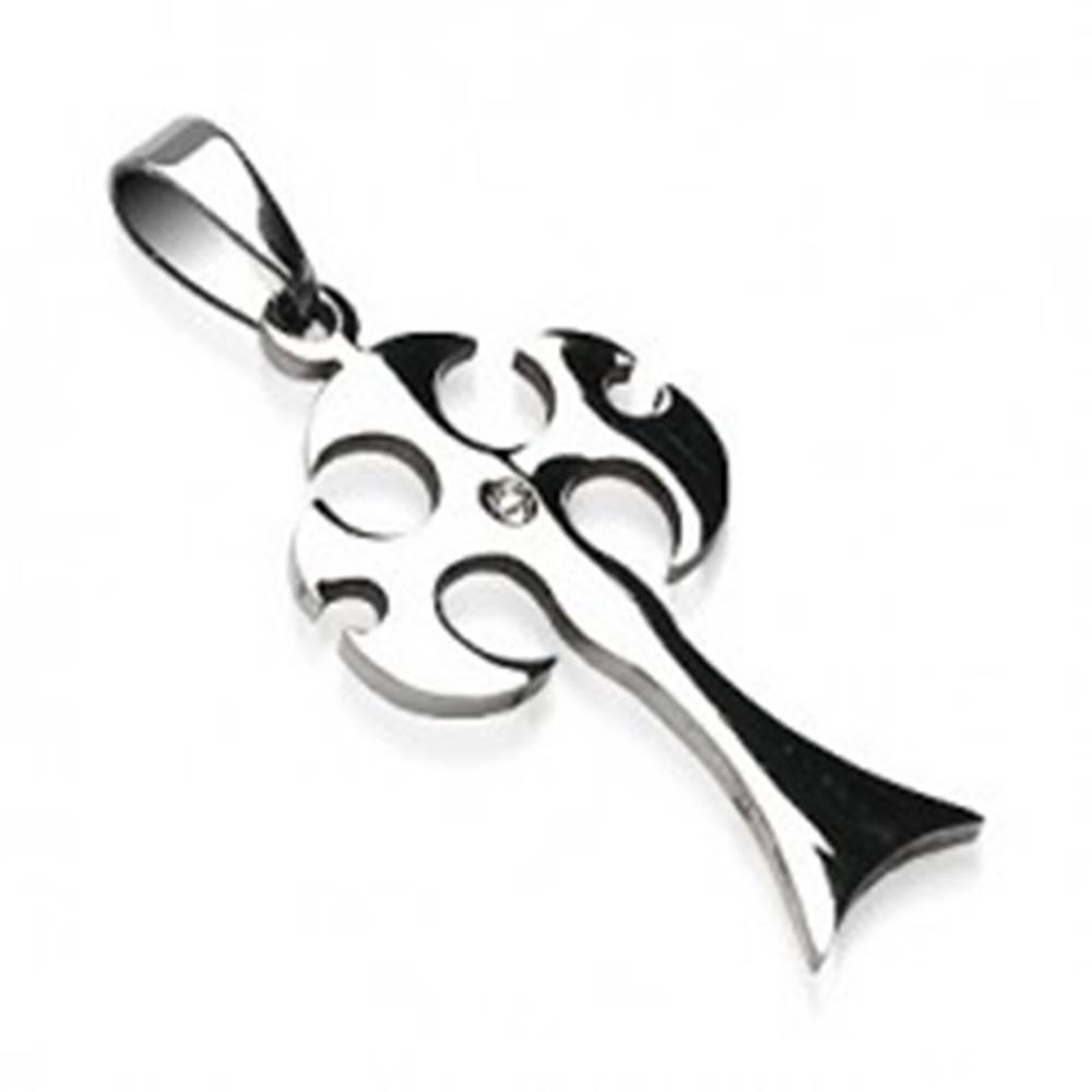 Šperky eshop Prívesok z ocele 316L striebornej farby, stredoveká sekera s čírym zirkónom