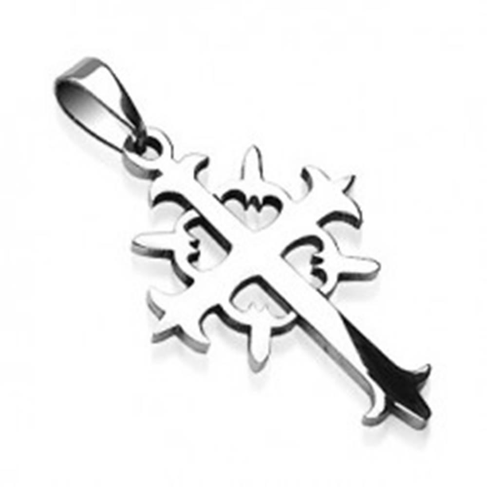 Prívesok z ocele kríž s kruhom