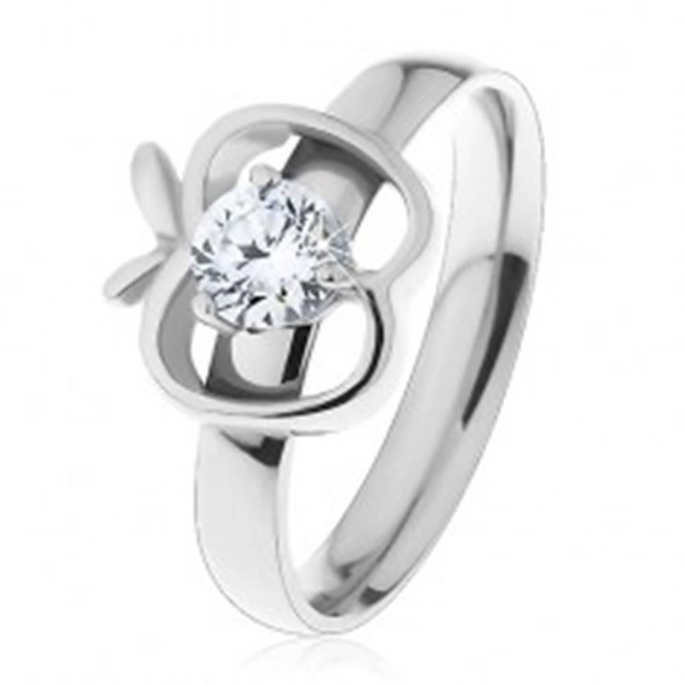 Šperky eshop Prsteň z ocele 316L striebornej farby, obrys jablka s okrúhlym čírym zirkónom - Veľkosť: 51 mm