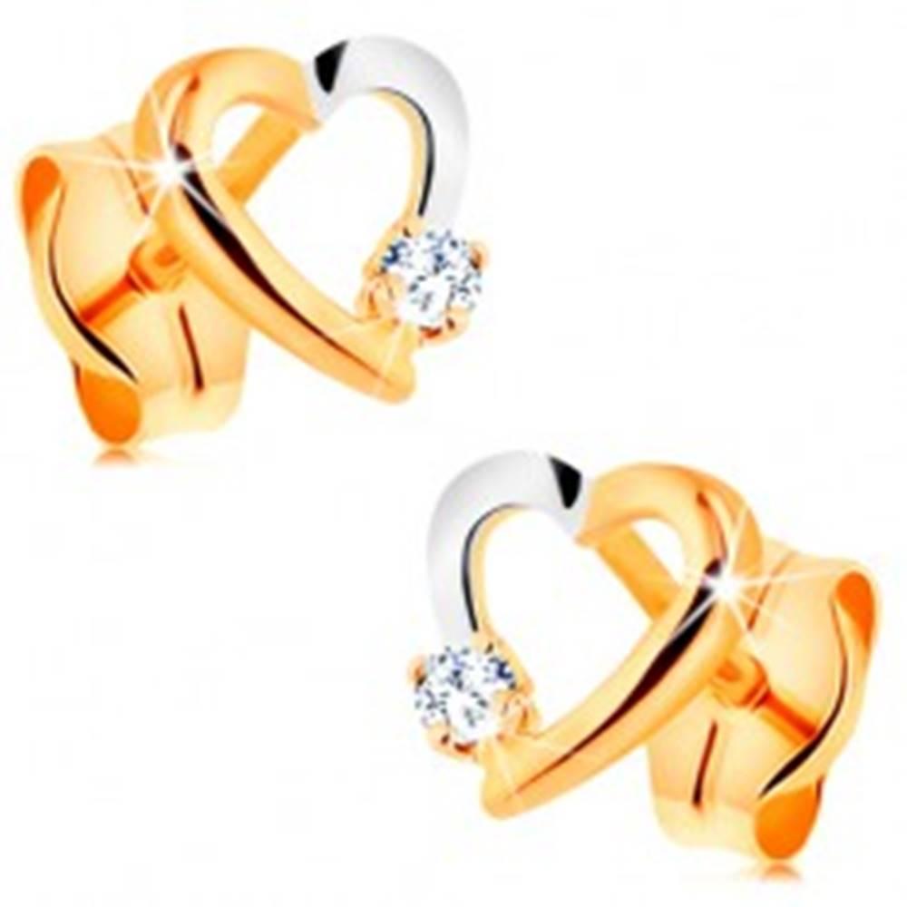 Šperky eshop Puzetové náušnice zo 14K zlata - dvojfarebný obrys srdiečka s drobným zirkónom