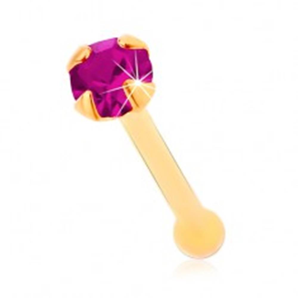 Šperky eshop Rovný piercing do nosa zo žltého 14K zlata - zirkónik fuksiovej farby, 1,5 mm