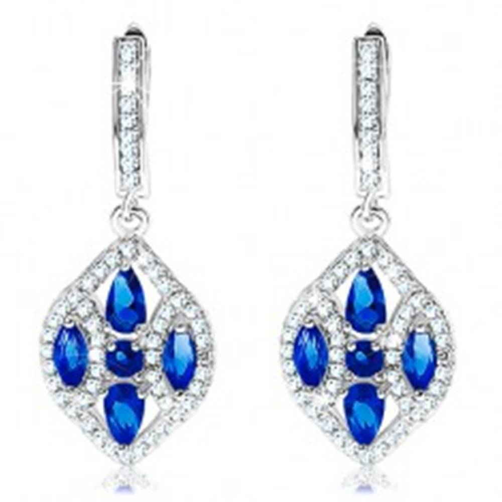 Šperky eshop Strieborné náušnice 925, široké zrnko zdobené modrými a čírymi zirkónmi