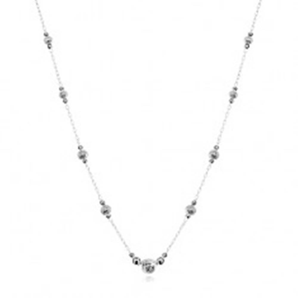 Šperky eshop Strieborný 925 náhrdelník, väčšie guličky so zárezmi a menšie hladké