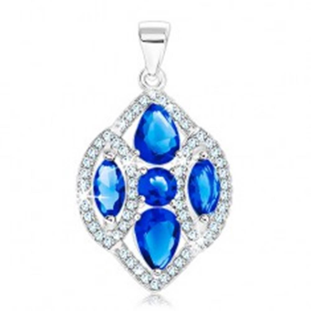 Šperky eshop Strieborný 925 prívesok, ligotavé zrnko zdobené čírymi a modrými zirkónmi